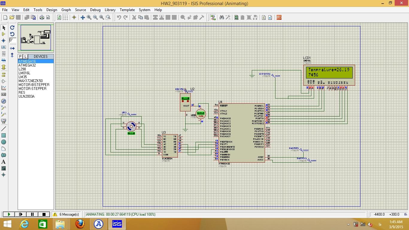 پروژه دماسنج و کنترل استپ موتور ATmega32