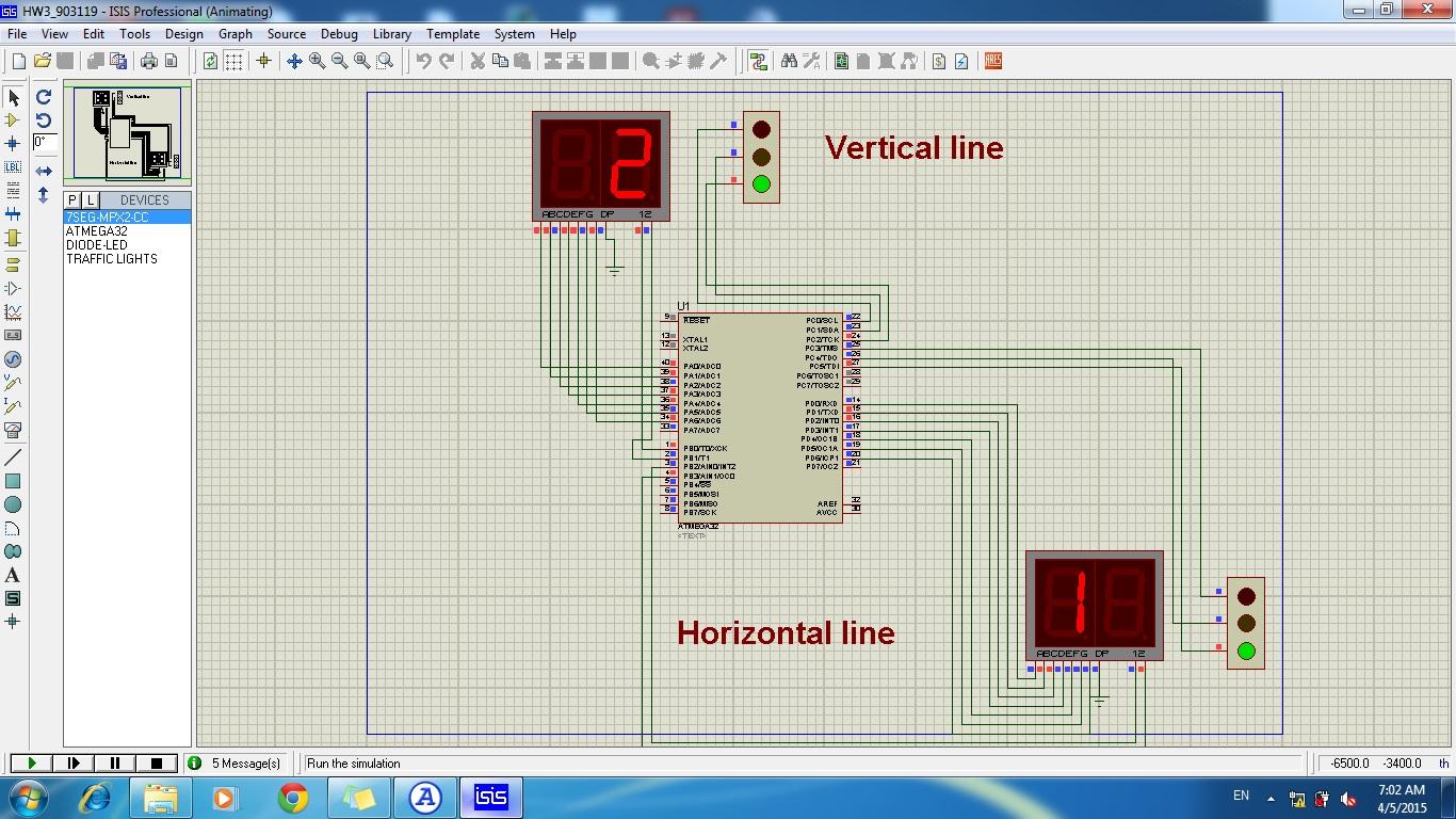 پروژه چراغ ترافیک ATmega32