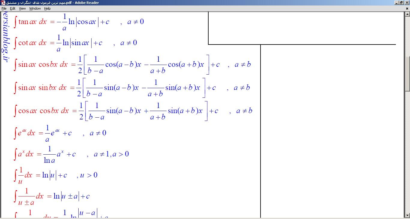 مهم ترین فرمول های انتگرال و مشتق
